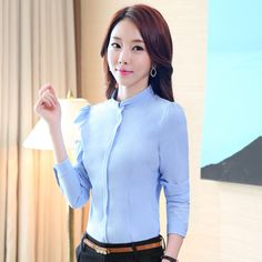 Plus Size S-4XL Spring Formal White Blouse Stand Collar Women Work Wear OL Career Shirt Long Sleeve T51297