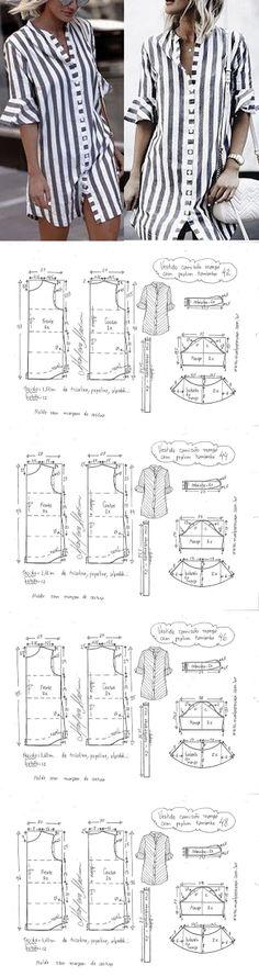 Выкройка модного платья - рубашки // Раиса Фазлетдинова Clothing Patterns, Sewing Patterns, Sewing Pants, Diy Fashion, Womens Fashion, Shalwar Kameez, Cotton Dresses, I Dress, Designer Dresses