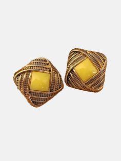 Vintage Yellow Gem Gold Stud Earrings