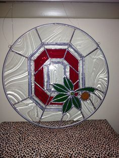 Stained Glass Ohio State Buckeye Sun Catcher Wall Hanging