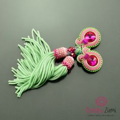 Pistachio Pink Soutache Earrings with tassel- Long Unique Pink Earrings - Pistachio Tassel Earrings - Orecchini Soutache - Pink Clip Tassels by OzdobyZiemi on Etsy