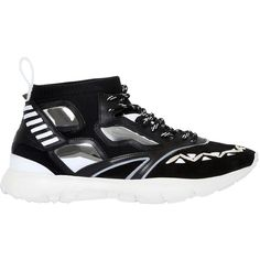 Valentino Men Leather & Nylon Sneakers (€785) ❤ liked on Polyvore featuring men's fashion, men's shoes, men's sneakers, black, mens shoes, valentino mens sneakers, mens black shoes, mens black leather sneakers and valentino mens shoes