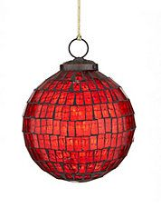 Alpine Cabin Glass Mosaic Ball Ornaments RED
