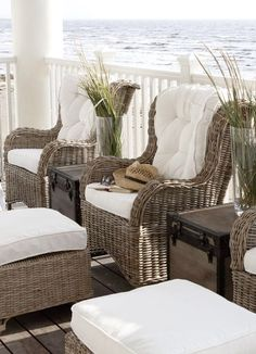 Beautifully Seaside / formerly Chic Coastal Living: Chic and Breezy Coastal Design Outdoor Wicker Chairs, Outdoor Rooms, Outdoor Living, Outdoor Loveseat, Rattan Chairs, Chair Cushions, Wicker Armchair, Porch Chairs, White Cushions