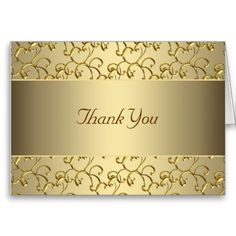 Gold Swirl Gold Thank You Cards