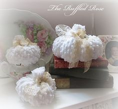 White Chenille French Country Style Pumpkins New At The Ruffled Rose Another beautiful item shared on Saturday's Seller Showcase on Cinnamon Rose Cottage blog ♥ Please stop by and visit these sellers or add a link to your online shop ♥ http://cinnamonrosecottage.blogspot.com/2013/10/saturdays-seller-showcase-at-cinnamon.html