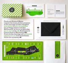 Bright green wedding invitations