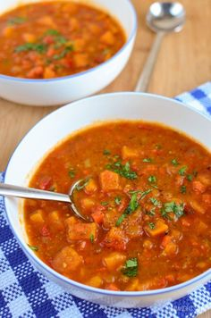 Delicious Syn Free Spicy Sweet Potato, Red Pepper and Carrot Soup - a perfect combination for a comforting bowl of soup.
