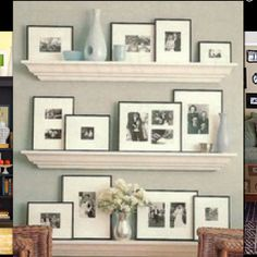 Love this look for frames on a shelf