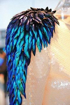 Holly Russell - Beetle wings --- Beautiful and wondrous. Costume Original, Steampunk, Amarillis, Body Adornment, Gypsy Fashion, Feather Fashion, Larp, Costume Design, Fashion Details