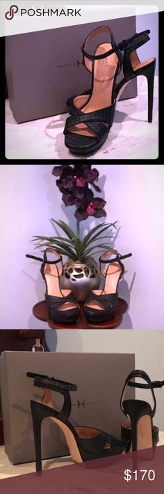 """👠 Black Leather Skyscraper Ankle Strap Heels 👠 👠 NIB Gorgeous Black Heels *Open to REASONABLE offers (reasonable is not half of asking price) please remember Posh takes 20%* retail $398. Beautiful leather, woven look, platform is 1.25"""", actual heel 6"""" but is 4.75"""" with platform, leather lining and sole. These are a 7, but think people who are 6 1/2 could still wear them comfortably. Great for a night out on the town, Christmas party, New Years Eve party, any other reason! Love these…"""