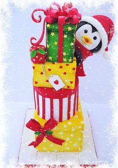 Christmas penguin cake by Nadia Christmas Deserts, Christmas Treats, Christmas Baking, Christmas Diy, Digger Cake, Holiday Cakes, Xmas Cakes, Fantasy Cake, Novelty Cakes