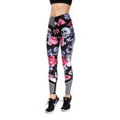 Stripe Rose Skull Leggings | Skullflow Skull Leggings, Floral Leggings, Printed Leggings, Women's Leggings, Sports Leggings, Workout Leggings, Leggings Fashion, Fashion Pants, Skull 3d