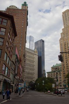 A quiet morning along Park Row on Thursday, September 6, 2012. The foreground has not changed all that much but new buildings stand in place near the twin towers stood.