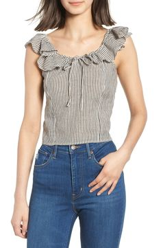 Free shipping and returns on BP. Ruffle Neck Top at Nordstrom.com. <p>A ruffled neckline adds feminine flounce to an airy striped top.</p>