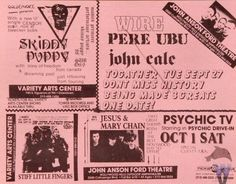 Wire / Pere Ubu / John Cale / Stiff Little Fingers / Jesus & Mary Chain / Psychic TV handbill Stiff Little Fingers, Punk Subculture, Drowning Pool, Skinny Puppy, Pretty Songs, Punk Poster, Band Posters, Music Posters, Young Lad