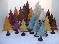 Trees, Set of 3 small Trees, Christmas tree, Metal Tree, Christmas decoration, Holiday decor, Metal art, Metal Trees, Red Trees with glitter...