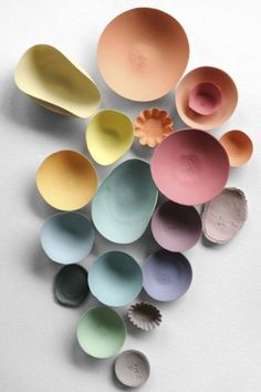 Ceramics by Dietlind Wolf, photography by Nathalie Carnet | Elle Decoration France #Color Palettes #Pastel Palettes