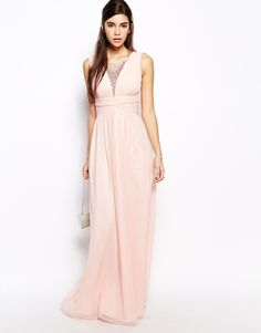 By Asos: Not sure about the neckline (modesty), or about how it would look at tea-length, but it's a pretty dress to at least think about!