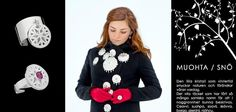 Collection Muohta / SNOW by Saami designer Erica Huuva; rings, necklaces, bracelets, brooches...  www.facebook.com/EricaHuuvaDesign