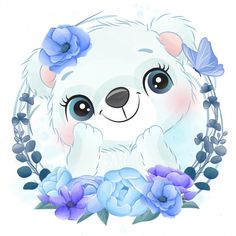 Cute Little Polar Bear Portrait With Floral Baby Animal Drawings, Cute Drawings, Watercolor Flower Background, Floral Watercolor, Baby Cartoon, Cute Cartoon, Vintage Wedding Stationery, Baby Art, Watercolor Animals