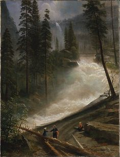"Albert Bierstadt: ""Nevada Falls, Yosemite"", 1872 or 1873, Oil on canvas, Dimensions:39 × 30 in. (99.1 × 76.2 cm) Framed: 48 1/16 x 39 x 5 1/16 in. (122 x 99.1 x 12.8 cm), The Met."