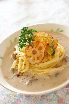 秋野菜のクリームスープパスタ|レシピブログ
