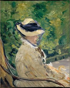 """""""Madame Manet (Suzanne Leenhoff, 1830-1906) at Bellevue"""" (1880), by French artist - Édouard Manet (1832-1883), Oil on canvas, 31 3/4 x 23 3/4 in. (80.6 x 60.3 cm.), The Walter H. and Leonore Annenberg Collection, Gift of Walter H. and Leonore Annenberg, 1997, Bequest of Walter H. Annenberg, 2002, (1997.391.4), The Metropolitan Museum Of Art, New York, New York, USA."""