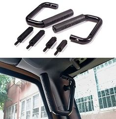 Amazon.com: Danti Front Black Hard Mount Solid Steel Grab Bar Grab Handle for Jeep Wrangler JK Sahara Sport Rubicon X & Unlimited 2/4 Door 2007 2008 2009 2010 2011 2012 2013 2014 2015 - 1 Pair: Automotive