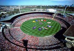 """Melbourne Cricket Grounds - saw my first """"footy"""" game here Footy Games, Melbourne Trip, Melbourne Australia, Olympic Games, Baseball Field, Cricket, Finals, City Photo, Football"""