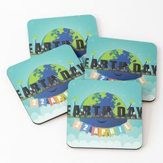 'Earth Day' Coasters by Melikar Cup Mat, Save The Planet, Earth Day, Cold Drinks, Coaster Set, Floor Pillows, Wall Tapestry, Duvet Covers, Vibrant