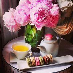 Tea + macaroons Prada! pearls, perfume