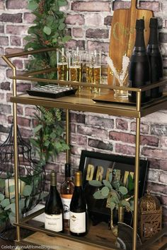 "See our web site for additional details on ""gold bar cart diy"". It is an outstanding area to get more information. Diy Bar Cart, Gold Bar Cart, Outside Bars, Gold Rooms, Gold Bridal Showers, Black Gold Jewelry, Bar Furniture, Bars For Home, Christmas Themes"
