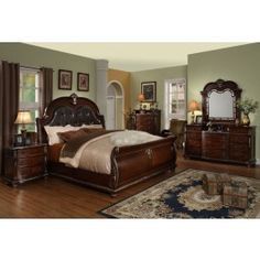 Feel the royalty of the luxurious Palazzo sleigh bed made by Empire Furniture Designs for everyone who appreciates a quality classic traditional style.  Palazzo Bedroom Set comes in a cherry finished solid hand carved wood, genuine marble tops, tufted leather padded headboard, curved foot board and a traditional hardware on the spacious drawers.Yes + CHEST $999.00