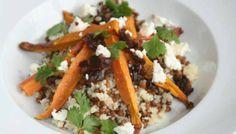 Sweet potato salad with lentils and goat cheese > Zoete aardappel salade met linzen en geitenkaas. Recipe > www.lekkeretenmetlinda.nl