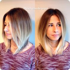 Lob haircut with balayage by Candie Paynter