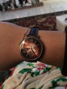 My badass Fossil watch my boyfriend got me for my 22nd Birthday! #hazel #ladywatch #feminine #leatherband #fossil #inlove