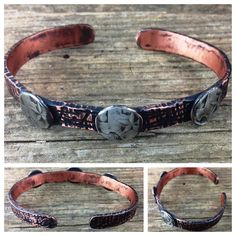Etched Bracelet with Quarter Accents *This is a one-of-a-kind show piece. Come check us out at Westfest!*