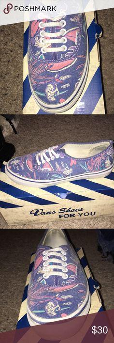 Floral/bird print vans Blue vans with plants and parrot print Vans Shoes Sneakers