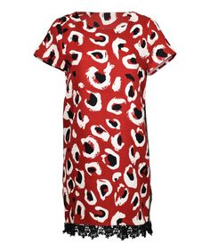 Red & White Leopard Lace-Hem Short-Sleeve Dress