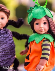 Liberty Jane Halloween Costumes 15-18 inch Doll Clothes Pattern | Make a Pumpkin Costume and go trick or treating!
