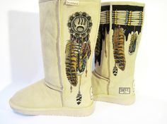 Boots Hand Painted BEARPAW size 7 Indian by TheWoodsSecretGarden, $448.00