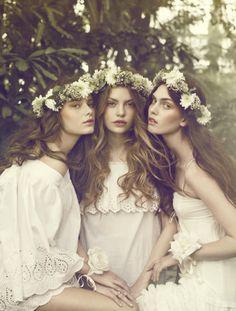 """Flower Girls"": Maria Palm Lyduch, Julie Rode & Solveig Mørk Hansen by Signe Vilstrup for Elle Denmark. #TERRAINsignsofspring"