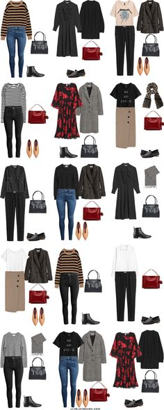 Personal and Work Capsule Wardrobe Outfit Options 16-30 via livelovesara