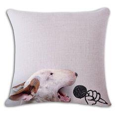 Karaoke Bull Terrier Funny Pillow Case