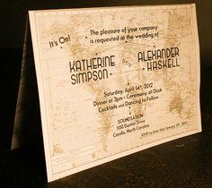 Invitation vintage thème voyage