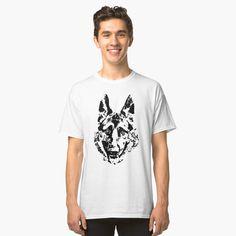 'German Shepherd I' Classic T-Shirt by Rostislav Bouda Buy German Shepherd, Classic T Shirts, Mens Tops, Stuff To Buy, Fashion, Moda, Fashion Styles, Fashion Illustrations