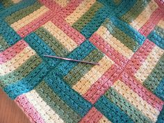 Sonoma Baby Blanket - Love this color combo much better than on the actual pattern. Follow links to a free pdf from Caron༺✿Teresa Restegui http://www.pinterest.com/teretegui/✿༻