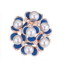2be40ce3ec0 Women's Elegant Swarovski Elements Crystal with Pearl Blue Flower Brooch  Pin Rose Gold Plated.More