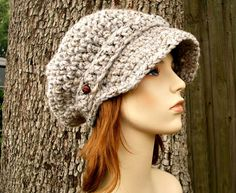 Hand Crocheted Hat  The Slouchy Newsboy Cap in Grey by pixiebell